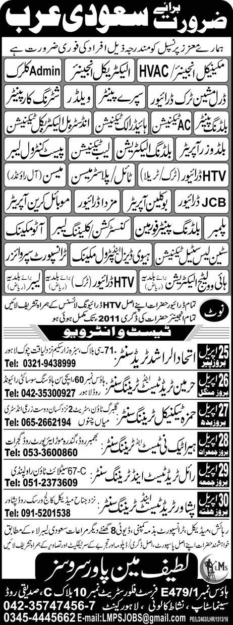 Staff Required for Saudi Arabia