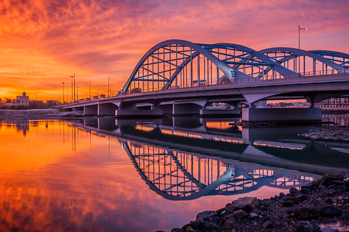 travel bridge red sky reflection water architecture sunrise fire burn abudhabi unitedarabemirates ae travelphotography