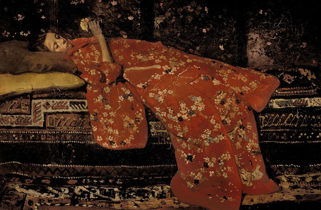 Girl in red kimono lying by George Hendrik Breitner, 1894