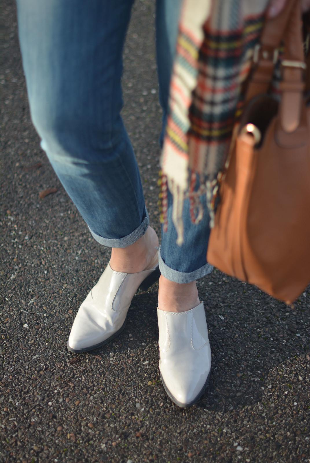 Boyfriend Jeans, Tartan Scarf, Flat Mules