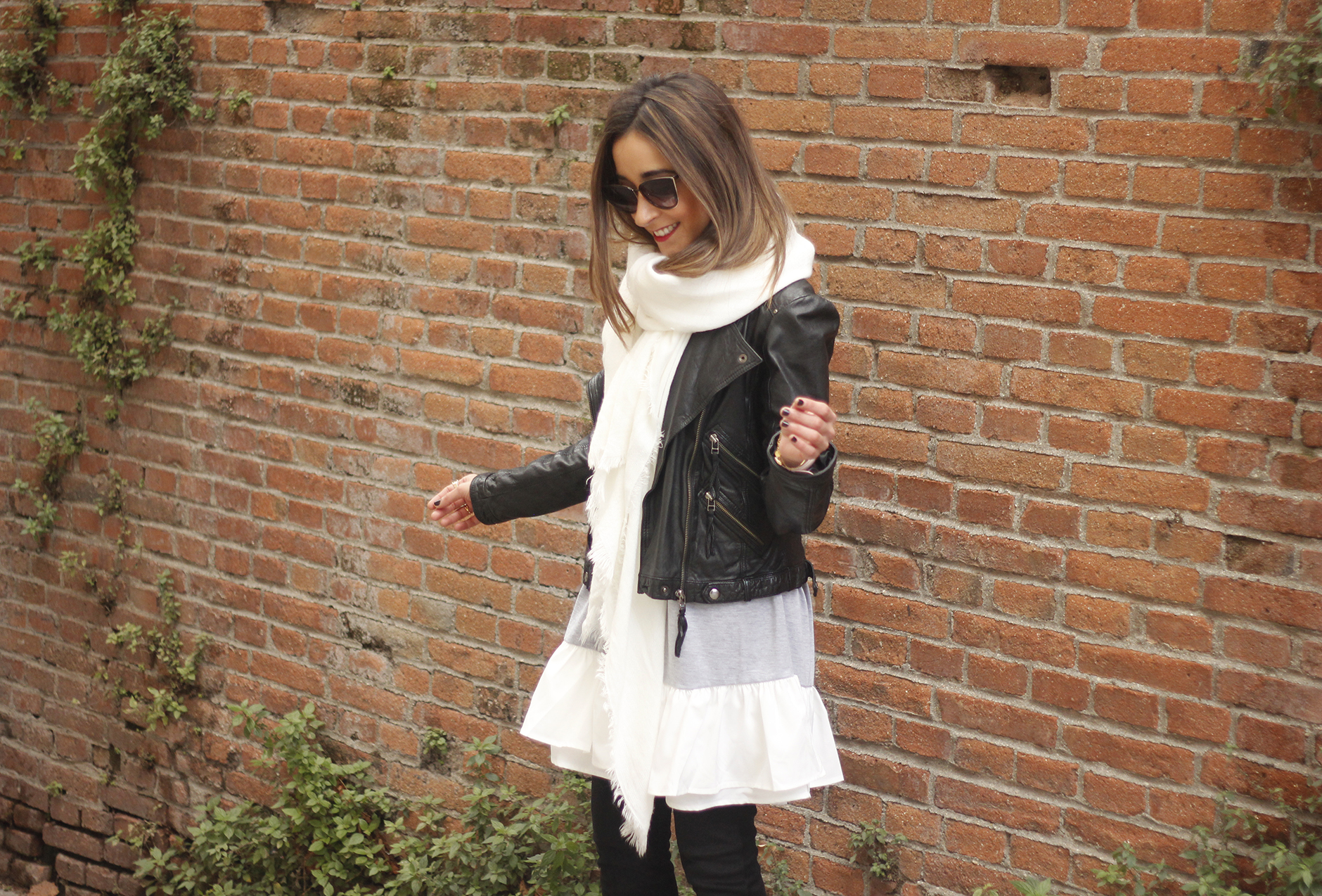 Leather Jacket gray dress over the knee boots style outfit fashion coach bag white scarf07