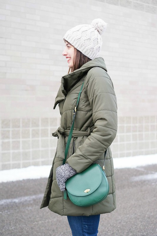 green wrap puffer coat + LLBean duck boots + green vintage Coach purse + red J.Crew camp socks