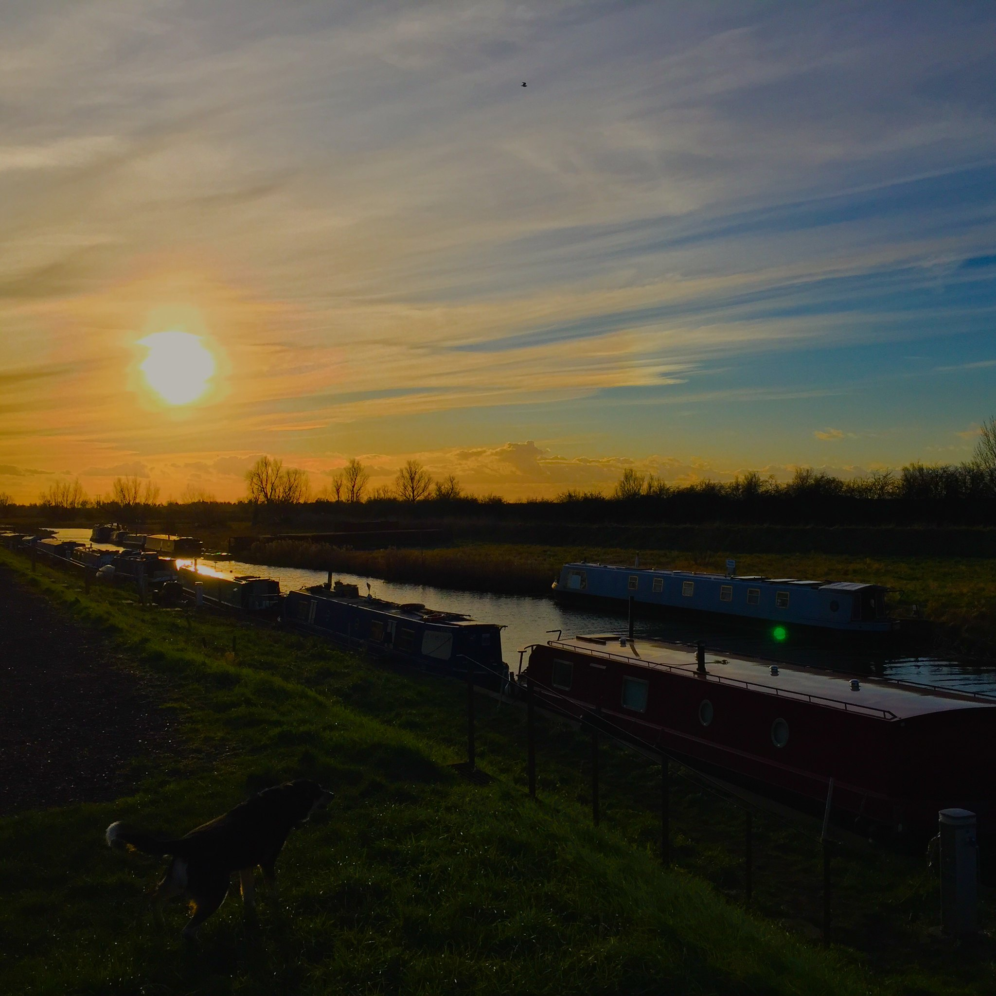 Fenland waterway at sunset