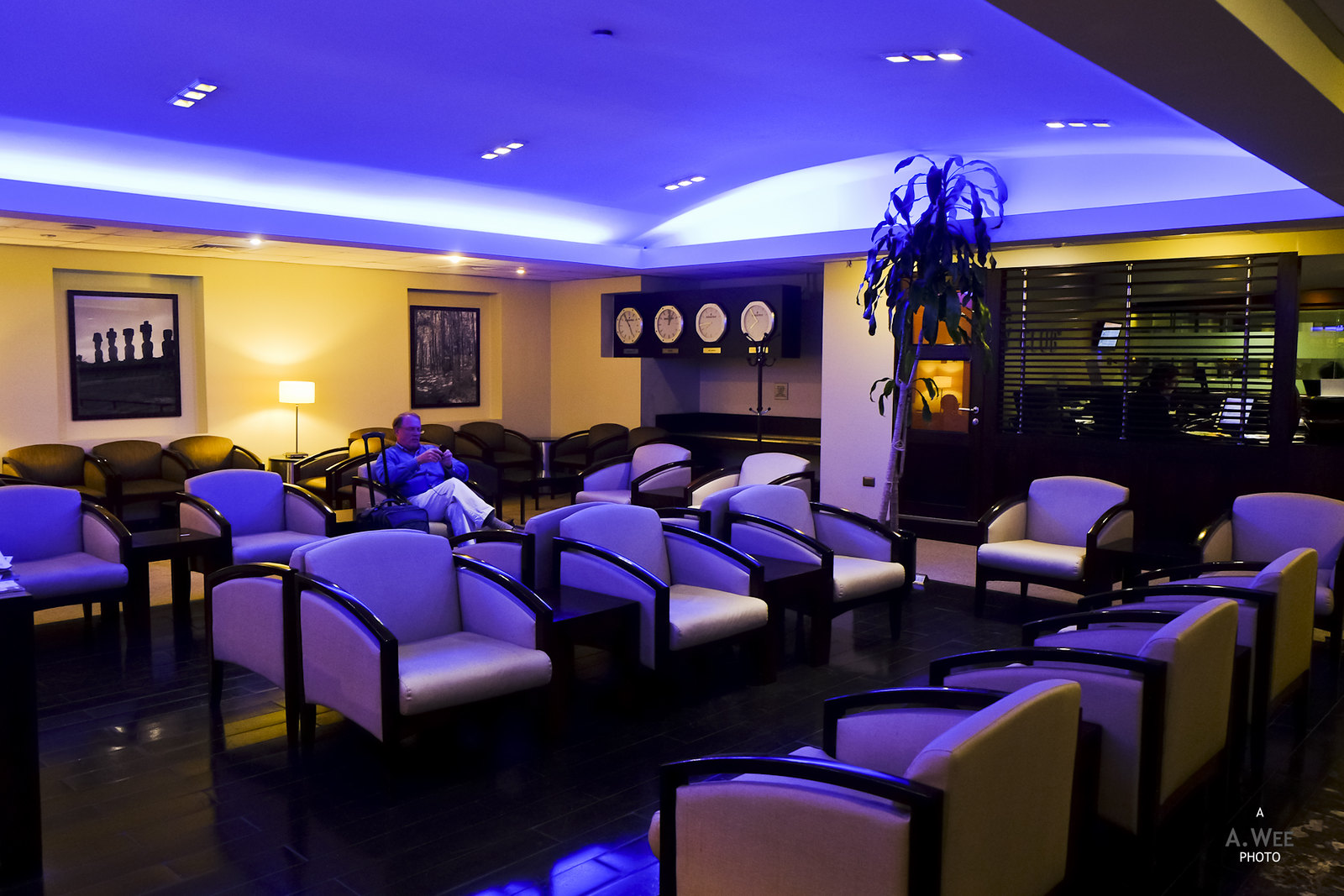Blue hues at the lounge