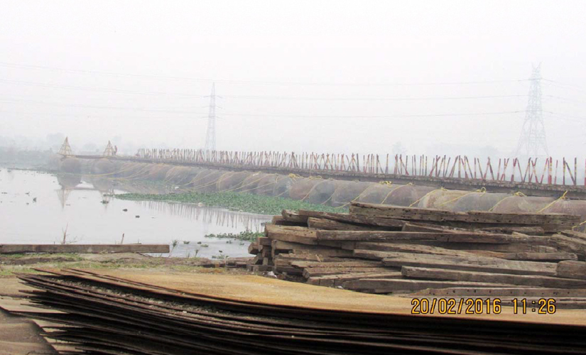Destruction on the banks of the Yamuna