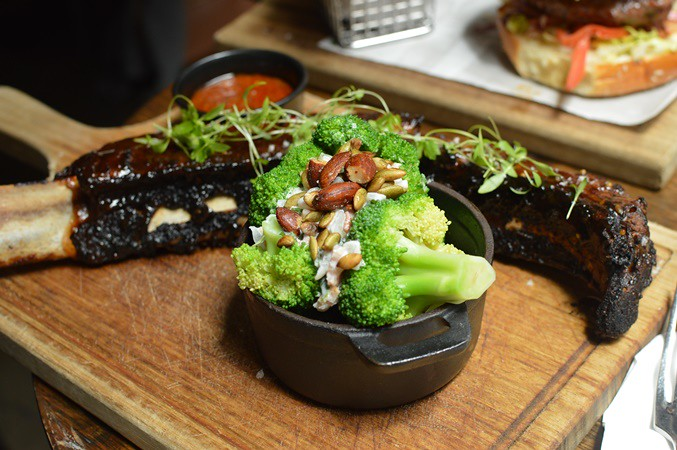 Beef rib & summer broccoli salad