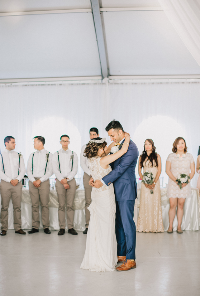 First Wedding Dance at Garden Chic wedding in Ontario and mismatched bridesmaids dresses   Fab Mood - UK wedding blog #gardenchic #chicwedding