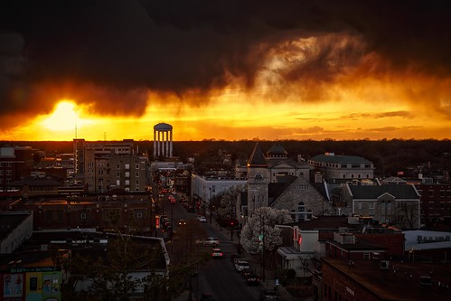 Notley Hawkins Photography, Columbia MO Photographer, Columbia MO Photo, Columbia Missouri Photography, Downtown Columbia Missouri, Walnut Street, architecture, sunset, stormy sky,, storm, clouds