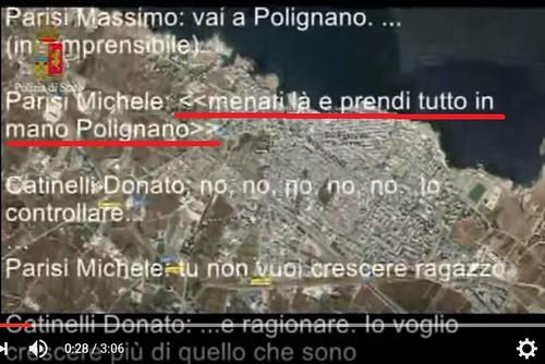 Uno stralcio del video della Polizia con intercettazione in cui si parla di Polignano