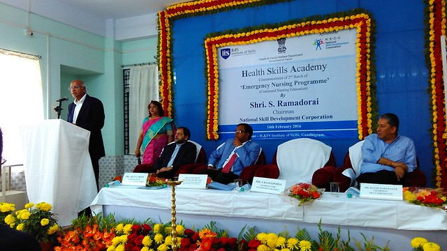 6 Mr. S. Ramadorai, Chairman NSDA and NSDC delivering his speech during Inauguration of 2nd batch of Emergency Nursing Training by ILFS Institute of Skills