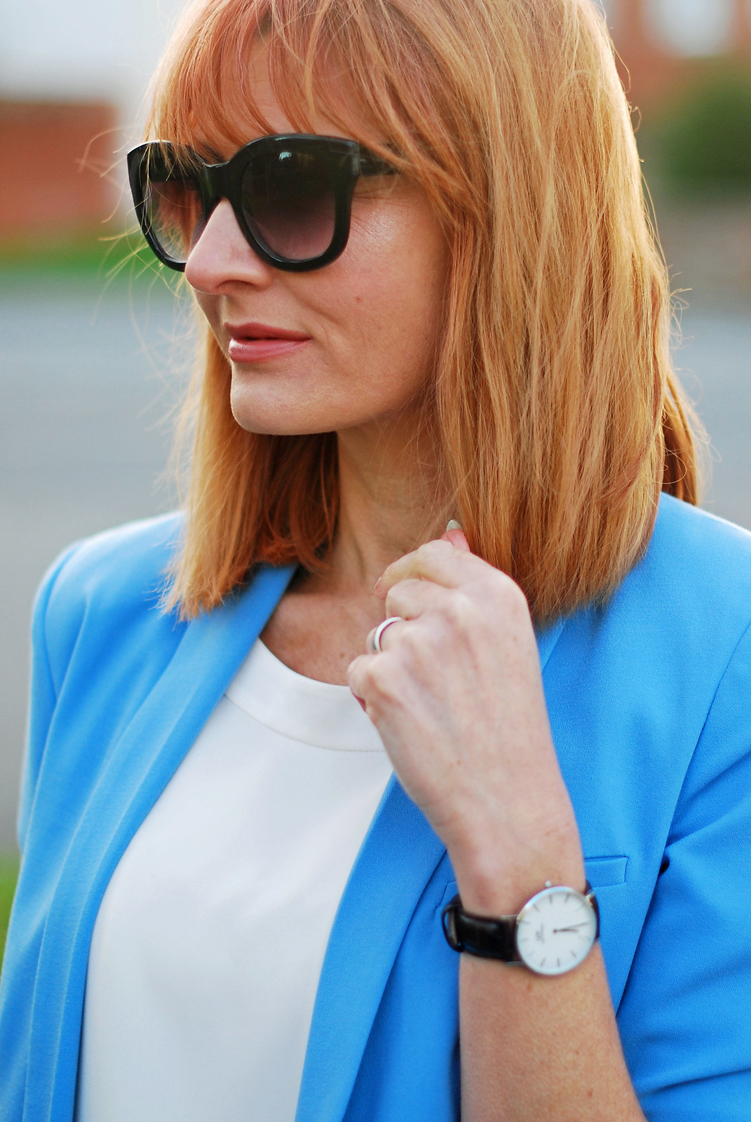SS16 White chiffon top, blue blazer, black cat eye sunglasses, Daniel Wellington watch | Not Dressed As Lamb
