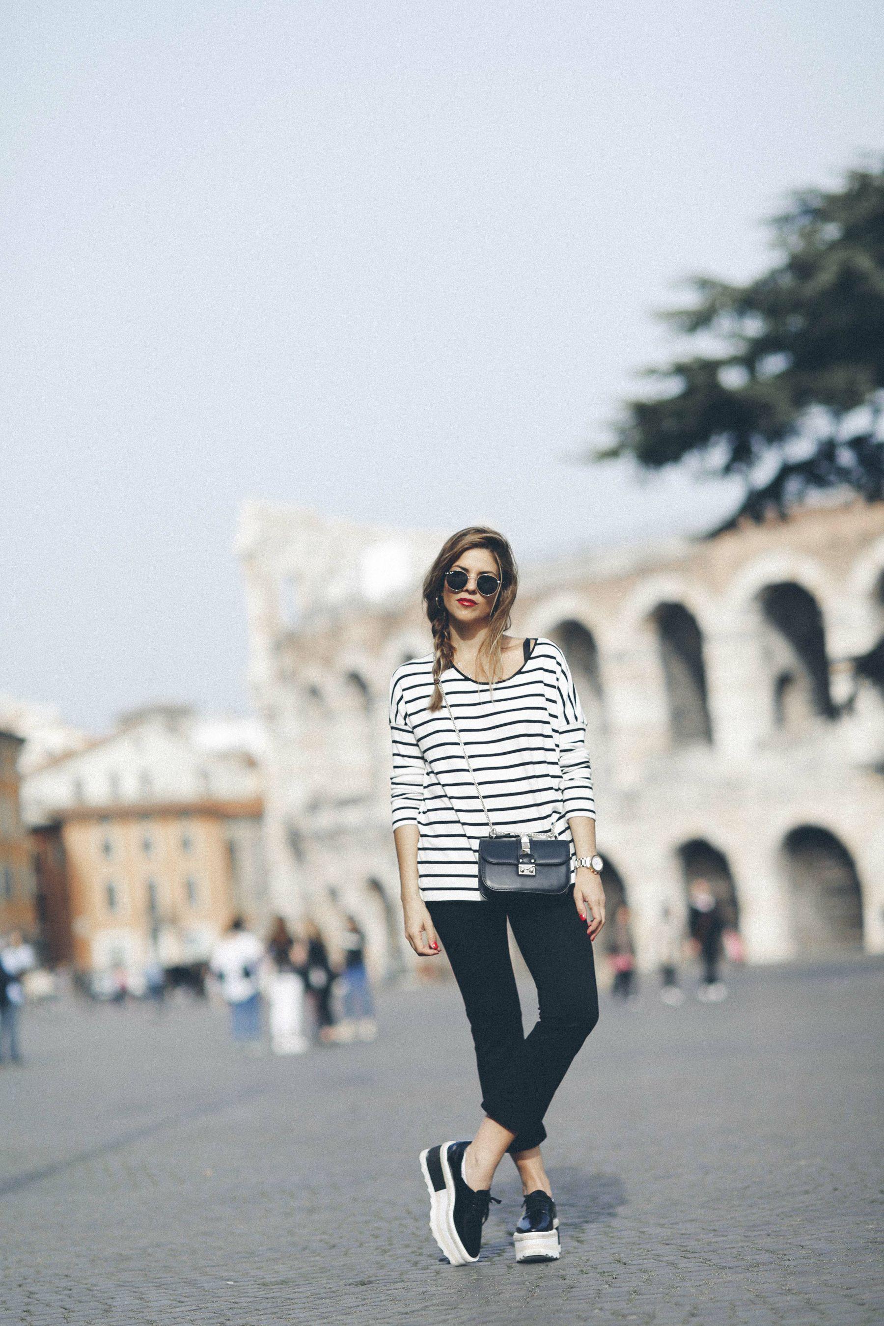 outfit look primavera spring rayas stripes zara mango valentino bolso bag blazer rayban verona street style trendy taste_3