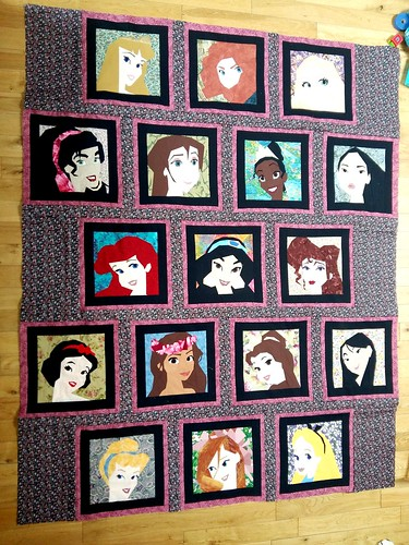 Disney Princess and Leading Ladies quilt... almost finished. Paper pieced patterns on fandominstitches.
