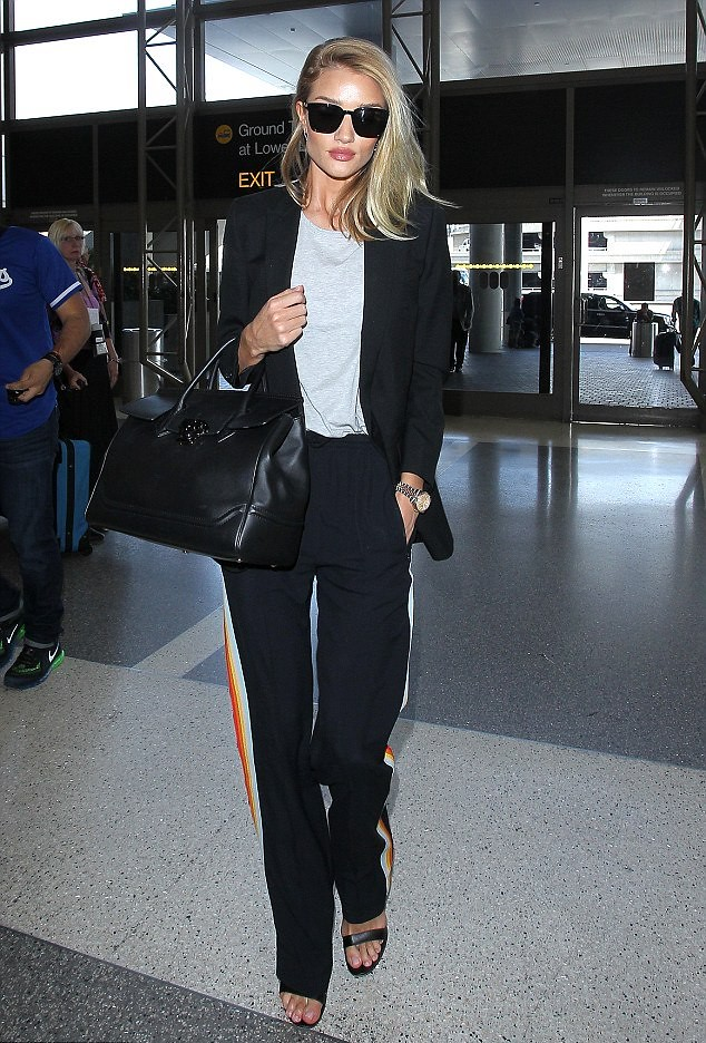 grey-top-with-black-blazer-strappy-heels-black-leather-handbag-sunglasses-and-Chloe-paneled-jersey-track-pants, How to style sweatpants, how to style joggers, how to style track bottoms, jersey track pants, jersey track pants trend, sweatpants, sweatpants trend, joggers, joggers trend, track bottoms, track bottoms trend, how to wear sweatpants, how to wear joggers, how to wear track bottoms