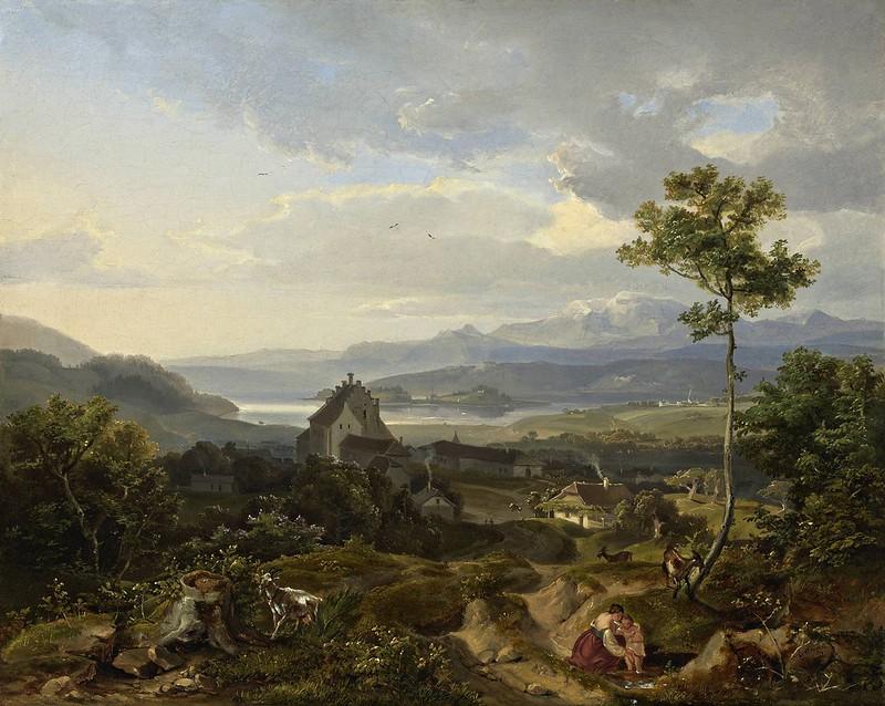 Carl Anton Joseph Rottmann - Eine mannigfaltig abwechselnde Landschaft in welcher eine Bauersfrau mit ihrem Kinde, 1824