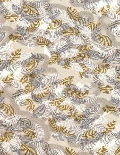 Metallic Leaf Print Japanese Chiyogami Paper
