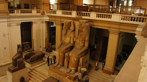 The gigantic statue in the Middle of the Egyptian Museum in Cairo