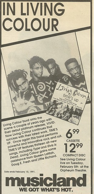 02/05/91 Living Colour @ Orpheum Theatre, Minneapolis (Time's Up Album Ad)