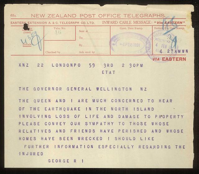 Telegram from King George V