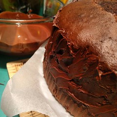 Chocolate ^3. Cake, fudge, icing cooling to the side. Nearly there. #Knightpatisserie