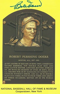 1986 Baseball Hall of Fame Gold Plaque Postcards - Bobby Doerr #C37004 (Second Base) (Hall of Fame 1986) - Autographed Baseball Card (Boston Red Sox)