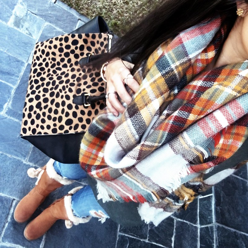 cute & little blog | petite fashion | plaid blanket scarf, green gray tunic, distressed jeans, bare trap pom pom fur boots, clare v leopard satchel | winter outfit