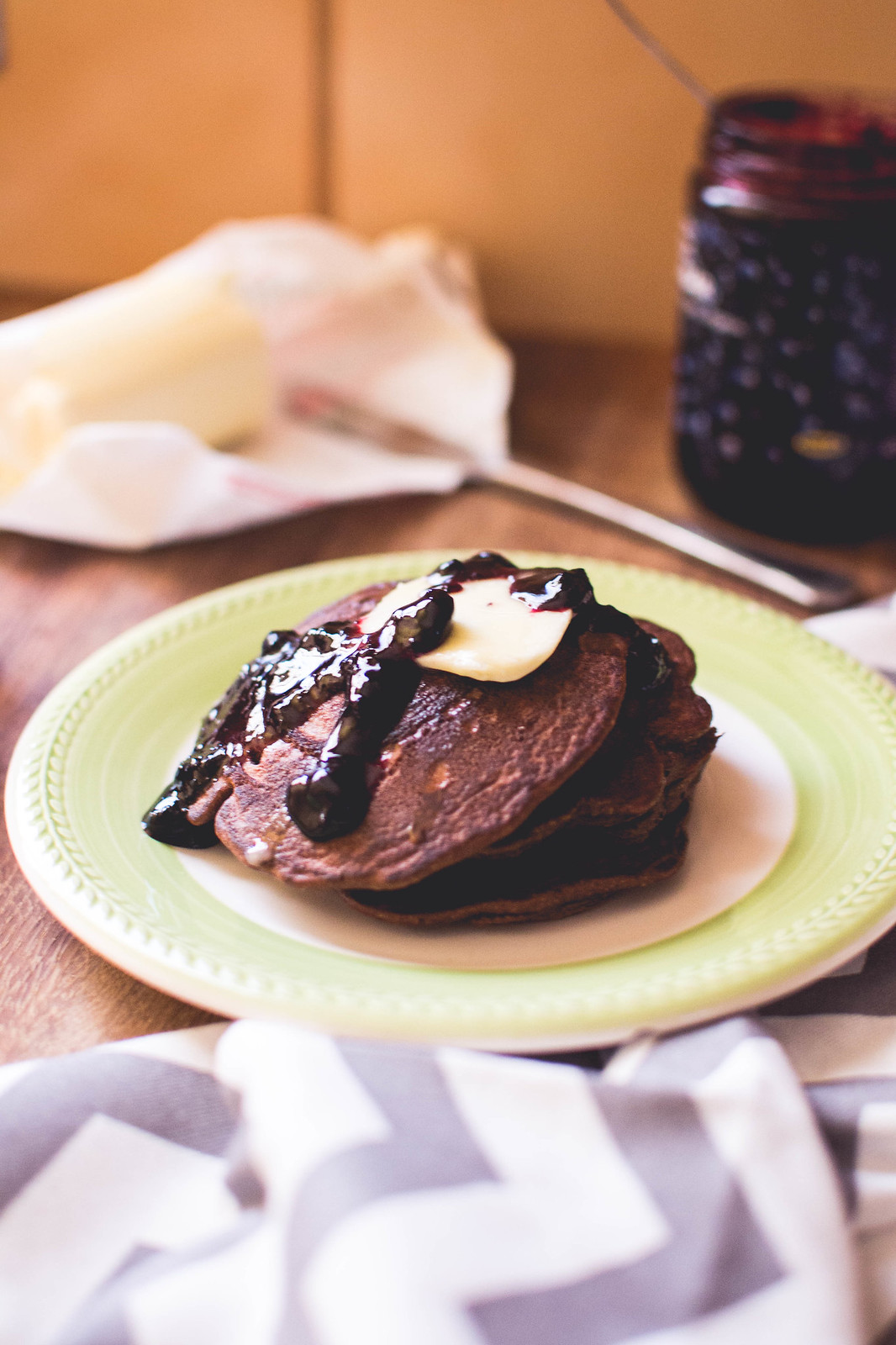 Chocolate Buckwheat Pancakes + Blueberry topping