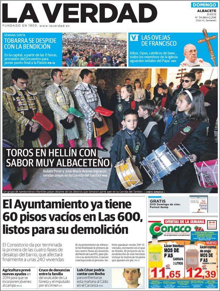 la verdad de albacete ultima portada 31 marzo 2013