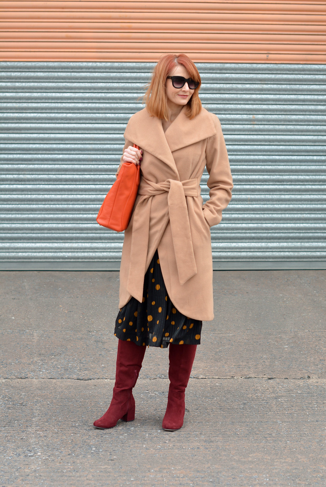 f63976ef30af3 Camel wrap coat, vintage 70s polka dots dress, burgundy boots, ...