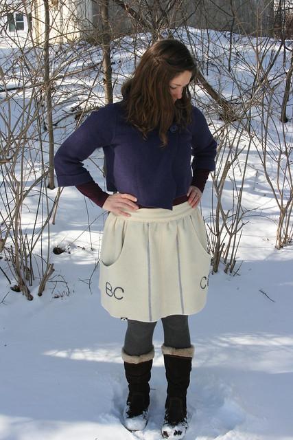 Megan Nielsen Brumby skirt made from a vintage blanket