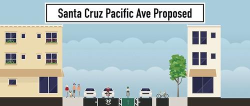 Santa Cruz Pacific Avenue one-way proposals + bike lane