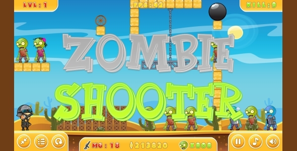 Zombie Shooter – HTML5 Game + Mobile (Capx)