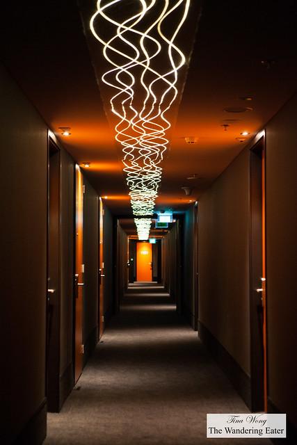 Striking hallway at the top floor of Jaz Hote Amsterdam