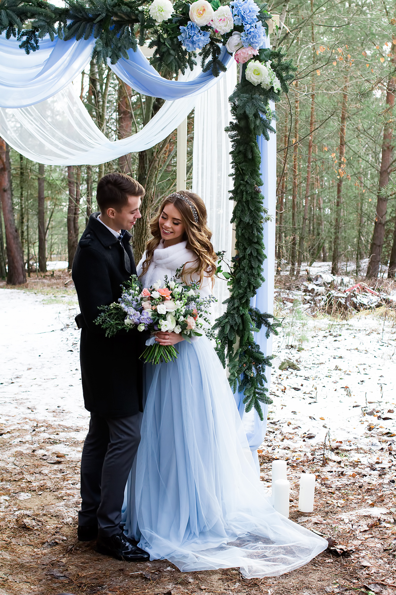 "A blue wedding gown for ""something blue"" winter wedding styled shoot"