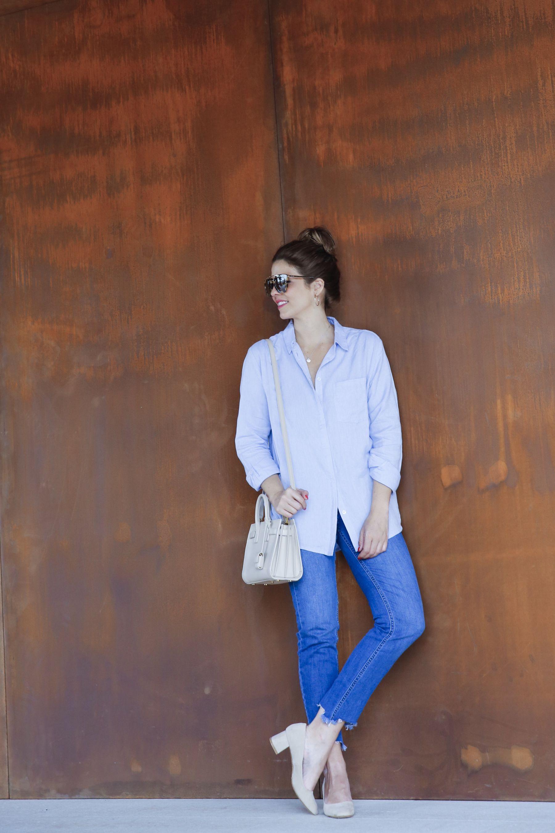 outfit look primavera spring camisa oxford zara calzedonia Yves saint laurent bolso bag prada sunglasses verona street style trendy taste_22