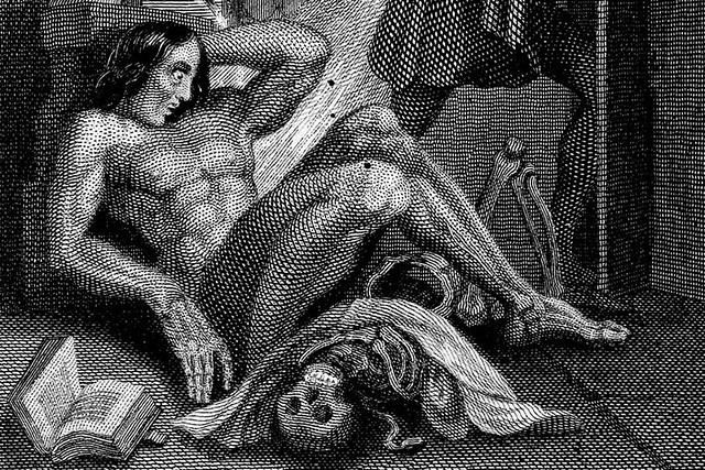 Detail from 'Frankenstein observing the first stirrings of his creature'. Engraving by W. Chevalier after Th. von Holst, 1831.