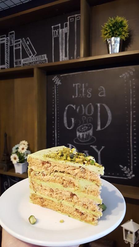 Pistachio Sansrival Cake | Annipie: Your Cinnamon Destination in Davao Opens at SM Lanang Premier - DavaoFoodTripS.com