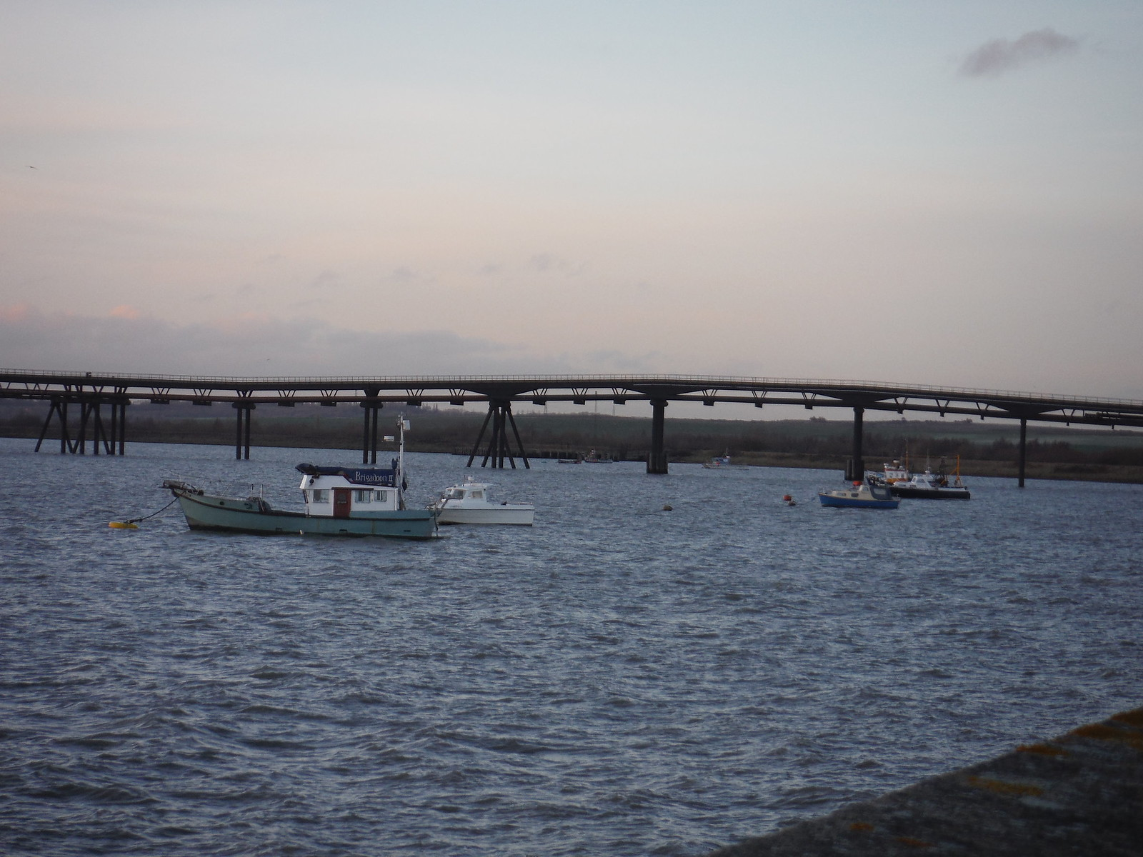 mile-long jetty and boats, Holehaven, Canvey Island SWC Walk 258 Benfleet Circular (via Canvey Island)