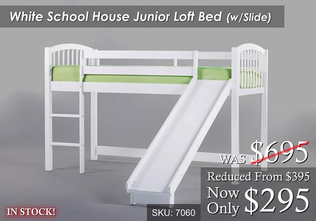 WhiteSchool Loft Bed wSlide SP
