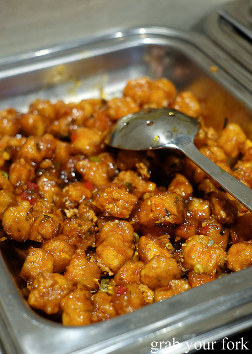 Deep fried tofu with chilli sauce at the all you can eat Korean lunch buffet at The Bab, Haymarket