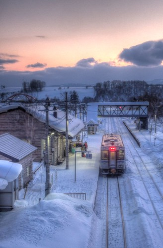 A Train at Biei Station in evening on FEB 11, 2016 (1)