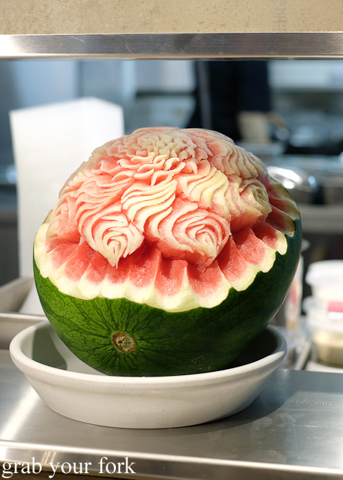 Carved watermelon at the all you can eat Korean lunch buffet at The Bab, Haymarket