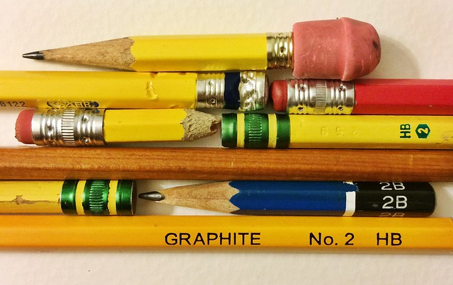 "And the #tinypencils I used as reference for the ""supplies"" pattern today"