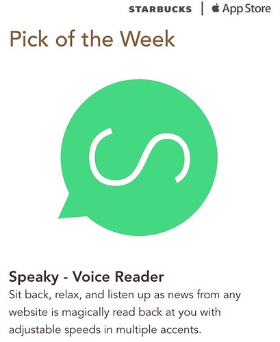 Starbucks iTunes Pick of the Week - Speaky - Voice Reader