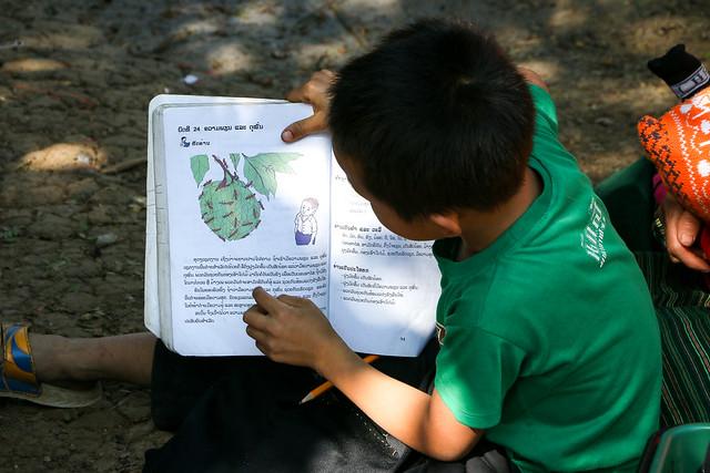 Studying under the tree, Hmong village near Luang Prabang, Laos ルアンパバーン郊外のモン族村、木陰で勉強する少年
