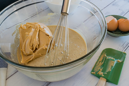 adding the peanut butter