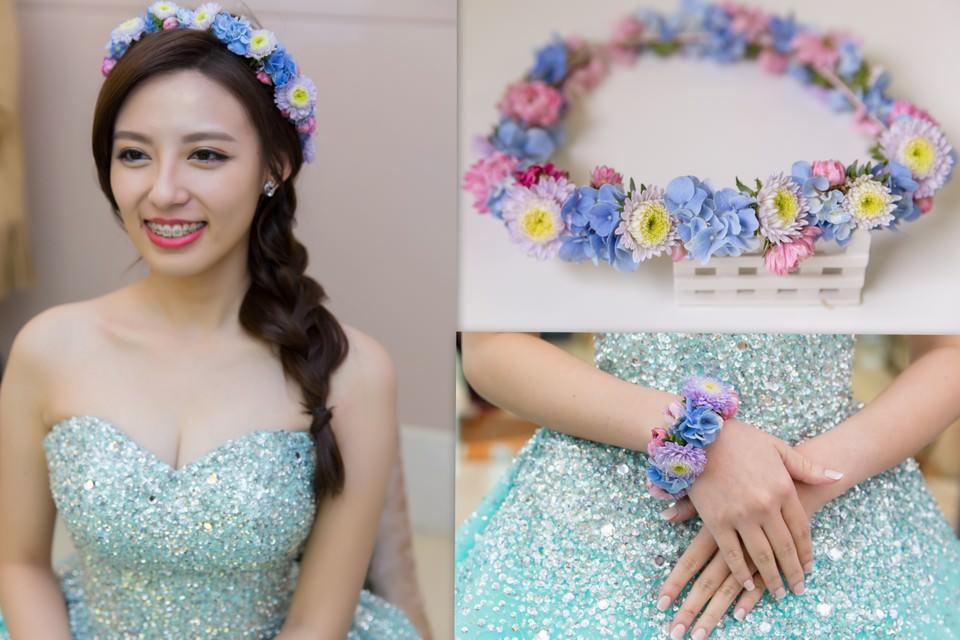 新秘Yuki│新秘推薦│藍色禮服│側邊編髮│魚骨辮│鮮花造型│花環│新娘髮型