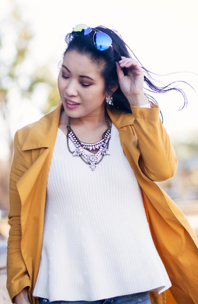 cute & little blog | mustard waterfall drape trench coat, white peplum knit sweater, rayban blue mirror flash aviators | spring outfit