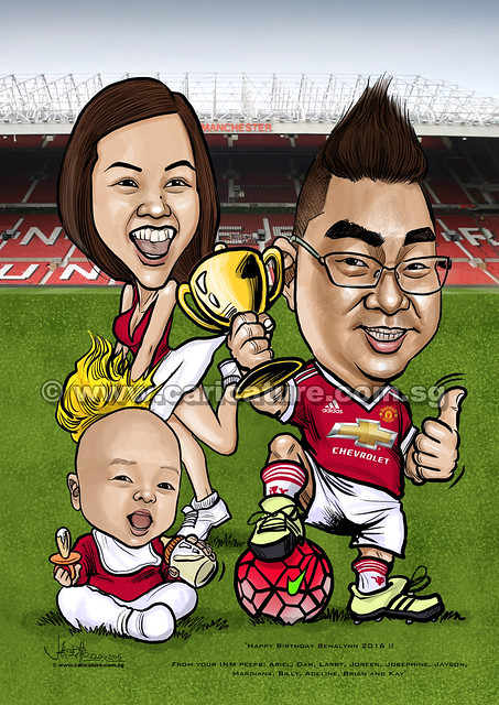 digital Manchester United family caricatures (watermarked)
