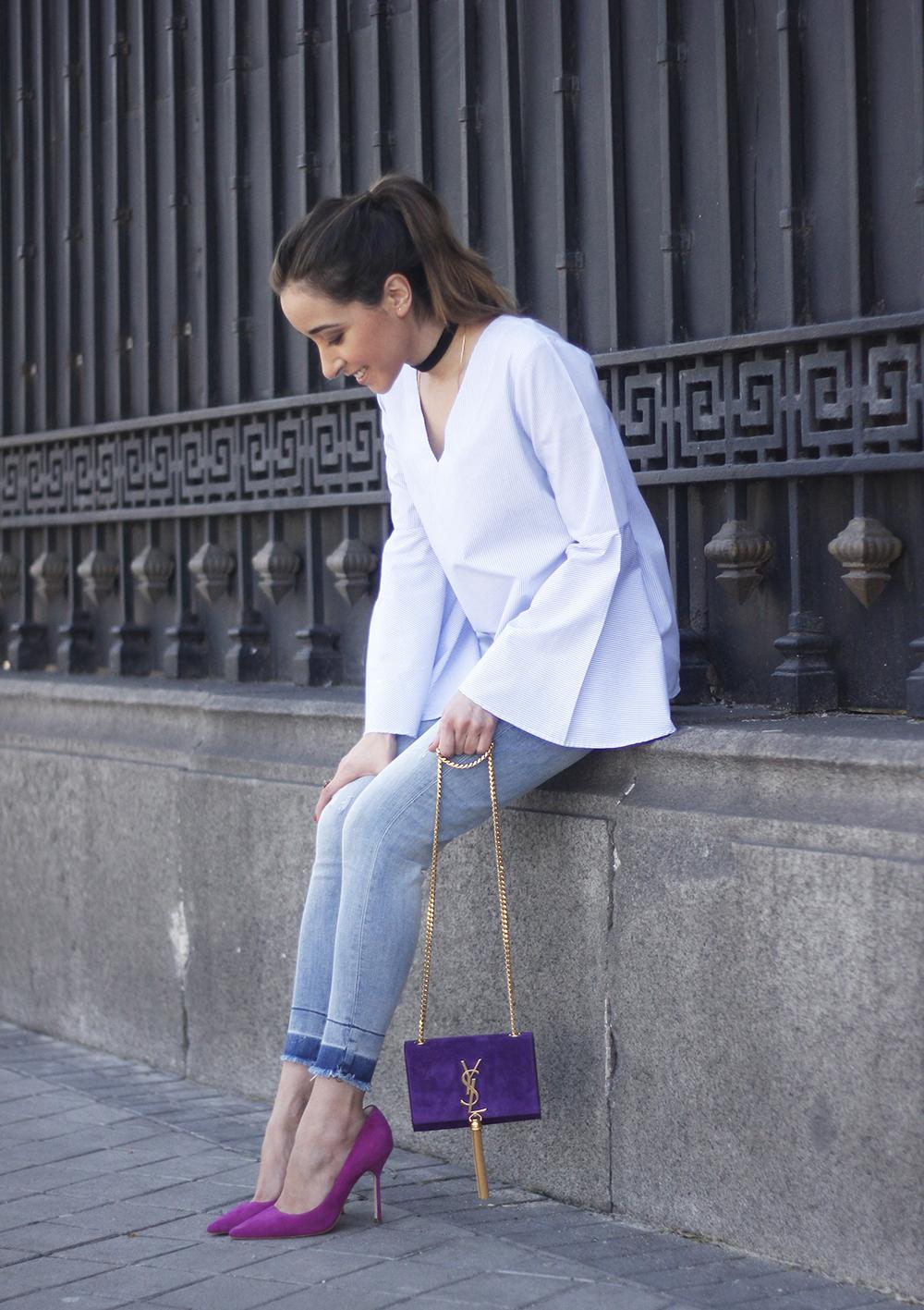 striped blouse with bell sleeves ysl handbag carolina herrena pink heels black choker Aristocrazy Ring outfit10